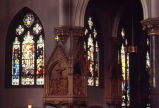 Stained glass windows on the west side of the nave of Gesu Church, 1981