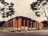 Architect's rendering of the south and east facades of Memorial Library after an addition