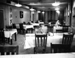 Looking north in the empty Jesuit refectory in the basement of Johnston Hall, 1973