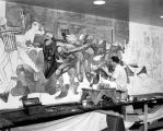 University Sports Mural installation in the Brooks Memorial Union, 1953