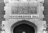 Detail view of the main entrance to Sensenbrenner Hall from Wisconsin Avenue