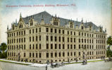 Postcard featuring an exterior view of Johnston Hall, focusing on the northeast corner of the...