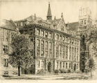 Etching showing the north facade of Johnston Hall, along Wisconsin Avenue, 1985?