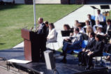T. Michael Bolger speaks at the dedication ceremony of the Alumni Memorial Union, 1990