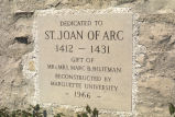 Marker noting the dedication of Saint Joan of Arc Chapel