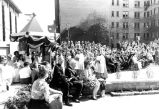 A crowd assembles for the dedication ceremony for Saint Joan of Arc Chapel, 1966