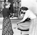 O'Donnell Hall residents use the laundry room facilities, 1952