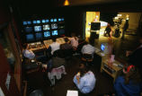 Students work the controls in Marquette University Television's production-control room