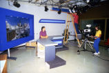 Students prepare for a Marquette University Television broadcast in their studio in Johnston Hall