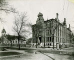 Marquette College Building and Holy Name Church, circa 1900