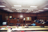 Law school students participate in a mock trial in the Boden Courtroom (Sensenbrenner Hall, Room...
