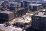 Aerial view of the Marquette campus and the Olin Engineering Center construction site