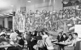 Students study and socialize in front of the University Sports Mural, 1953-1954