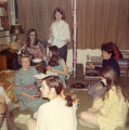 Residents gather for a birthday party in Cobeen Hall, 1969
