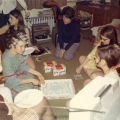 Cobeen Hall residents celebrate a birthday party, 1969