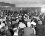 A crowd is seated in Schroeder Hall for the blessing and dedication ceremonies, 1957