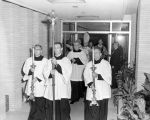 The procession enters Schroeder Hall during dedication and blessing ceremonies, 1957