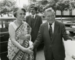 Shaking hands with Prime Minister Indira Gandhi; n.d.