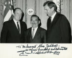 Posing with Vice-President Humphrey and Senator Muskie; 1968