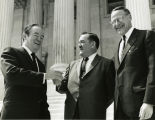 Shaking hands with Hubert Humphrey; April 1969