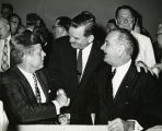 Greeting President Kennedy and Vice-President Johnson; 1961-1963.