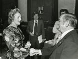 Greeting Margaret Thatcher, ca. 1982