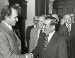 Greeting Pierre Trudeau; ca. 1980