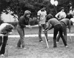 Marquette students participate in outdoor games, 1982