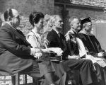 Dignitaries at the dedication of the Saint Joan of Arc Chapel, 1966