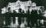View of Milwaukee County Hospital at night, circa 1940