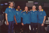 Bo Ellis, George Thompson, Rev. Albert J. DiUlio, and other men on a bowling team at the Alumni...