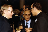 Karl Rahner, S.J., speaks with Jesuits at the Pere Marquette Discovery Award Reception, 1979