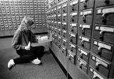A Marquette student uses the Memorial Library card catalog, 1989