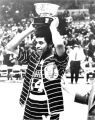 Dean Meminger holds the N.I.T. championship trophy on his head, 1970