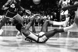 Marquette basketball player George Frazier hits the floor, 1972-1973