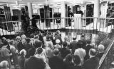 A crowd gathers on the stairs during the Legal Research Center dedication ceremony, 1968
