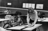 Two students discuss a project, 1977-1978