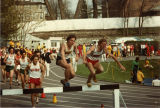 Peter Skorseth jumps a hurdle in the steeplechase, 1981
