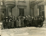 Students and faculty pose outside the College of Music, 1915-1930