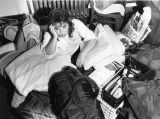 Kathy Mahoney sits on the floor of her room in Cobeen Hall, surrounded by her belongings, during...