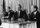 "Michael Collins, Neil Armstrong, and Edwin """"Buzz"""" Aldrin speak during a..."
