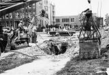 Construction workers tear up an intersection at Wisconsin Avenue, 1973-1974