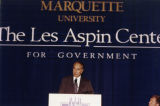 Robert Dole speaks at the Les Aspin Democracy Award dinner, 1997