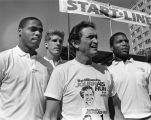 Kerry Trotter, Tom Copa, Al McGuire and David Boone wait at the start line for Al's Run, 1985