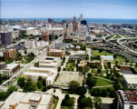 Aerial view of the Marquette campus, looking east toward Lake Michigan, 2000