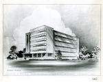Drawing showing the south and west facades of the College of Business Administration building,...