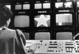 A broadcast journalism student works the control board, 1984