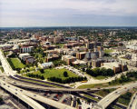 Aerial view of the Marquette campus, looking northwest from the Marquette Interchange, 2000