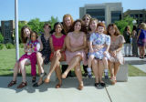A group of female students in the Freshman Frontier Program poses outside the Alumni Memorial...