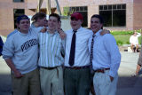 A group of male students in the Freshman Frontier Program pose outside the Alumni Memorial Union,...